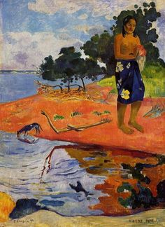 She goes down to the fresh water (Haere Pape), 1892 by Paul Gauguin, 1st Tahiti period. Cloisonnism. genre painting. The Barnes Foundation, Merion, Pennsylvania, USA