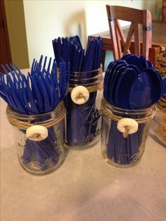 Utensil holders for a nautical themed party