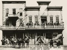 Deadwood---Al Swearengen - The Gem Theater circa 1878. The man in the buggy at left is thought to be Swearengen. Born :Ellis Albert Swearengen 8 July 1845 Oskaloosa, Iowa Territory, United States Died	15 November 1904 (aged 59) Denver, Colorado, United States Occupation	Pimp, early entertainment entrepreneur in Deadwood, South Dakota Spouse(s)	Nettie Swearengen (divorced) Two other marriages also ended in divorce