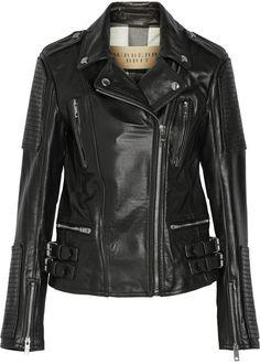 $997, Black Leather Biker Jacket: Burberry Brit Leather Biker Jacket. Sold by NET-A-PORTER.COM. Click for more info: https://lookastic.com/women/shop_items/138801/redirect