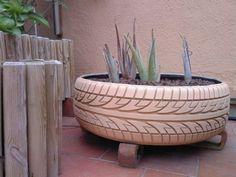 Repurposing of tire into planter  #recycedtyres #aboutthegarden.com.au