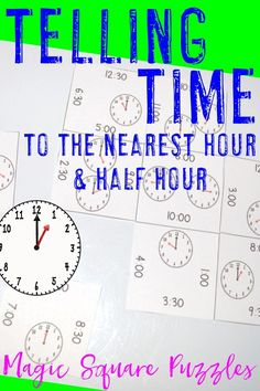Telling Time to the Hour and Half Hour Worksheet Alternative - Distance Learning 2nd Grade Classroom, First Grade Teachers, Math Classroom, Classroom Ideas, Maths Puzzles, Math Activities, Magic Squares Math, Teacher Resources, Teaching Ideas