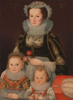 Jacobean lady and her two children, dated 1624. New Haven, Yale Center for British Art Image c/o Wikimedia