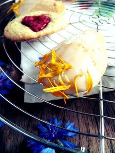 Madeleines au citron et framboises