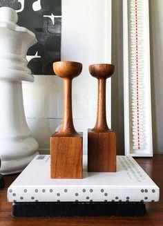 Unusual Pair Danish Teak Candlesticks Modern Rare Vintage Turned Handmade
