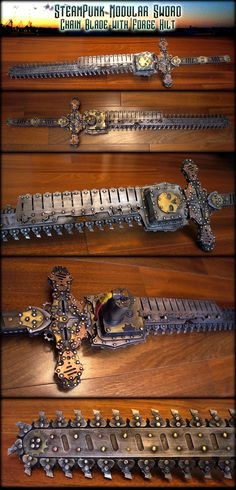 Steampunk Modular Sword- Chain Blade w/ Forge Hilt by AetherAnvil - i wouldn't even care if it worked as its just that cool looking, but....it does