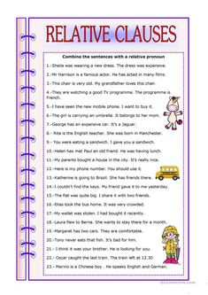 Revision of relative clauses. Phonics Worksheets Grade 1, Social Studies Worksheets, Spelling Activities, Printable Worksheets, English Grammar Tenses, English Grammar Worksheets, Grammar Book, Education English, Teaching English