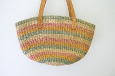 Natural Light Blue Orange and Pink Stripe by freekittensvintage, $32.00