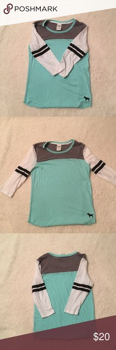V.S. PINK Shirt! Like new no holes or stains! Bluish green with white and gray PINK Victoria's Secret Tops