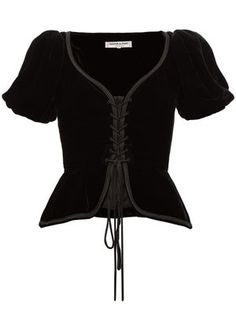 corset top Yves Saint Laurent 1977 black velvet co - corset Looks Style, Looks Cool, My Style, Look Fashion, Fashion Outfits, Fashion Design, Gothic Fashion, Black Corset Top, Mode Editorials