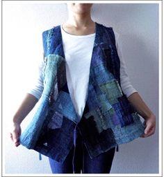 Antique Japanese Sashiko Jacket - recycled denim patchwork - great idea!