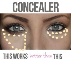 applying the concealer in a pie piece under your eye instead. This way you cover the darkness and create a little arrow direction the attention right to your eyes and evening out your cheek in the meantime. --she also suggests a thick smudged eyeliner and thicker, well defined brows.