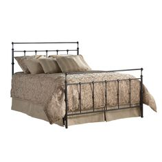 Queen size Metal Bed with Headboard and Footboard in Mahogany Gold Finish - Quality House