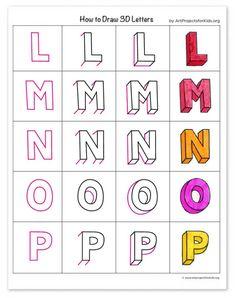 Block Letter Alphabet, Hand Lettering Alphabet, Doodle Lettering, Graffiti Lettering, Block Lettering, Alphabet Drawing, Drawing Letters, Name Drawings, Art Drawings Sketches Simple