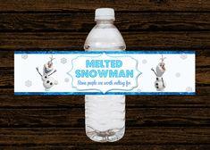 Custom Disney Frozen Party Water Bottle Labels Wraps - Digital File