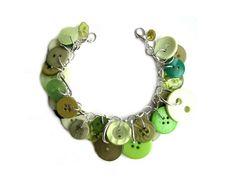 Green Charm Bracelet Buttons  Great Green Hues by LovesParisStudio, $30.00