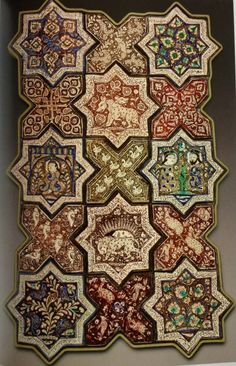Ilkhanid period tile work From Damghan, Iran, dated 1267 AD, dated in the Persian inscription on the rim. From Imamzadeh Jafar shrine in Damghan, the shrine itself is now void of any tiles. These tiles are in Louvre Museum. Tile Art, Mosaic Art, Mosaic Tiles, Islamic Tiles, Islamic Art, Arabesque, Architecture Unique, Teheran, Antique Tiles