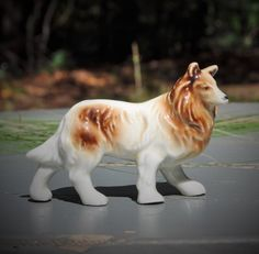 Vintage Dog Figurine Collie Porcelain Ceramic by FabsAndFaves