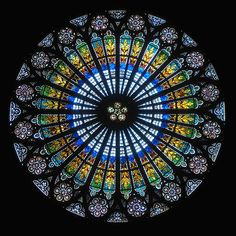 This rose window is in the Strasbourg Cathedral, a famous landmark in Alsace, France, Mandala