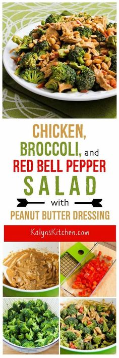 Chicken, Broccoli, and Red Bell Pepper Salad with Peanut Butter Dressing  is a delicious one-dish meal that's good any time of year, and this tasty salad is low-carb, low-glycemic, gluten-free, and South Beach Diet friendly. [found on KalynsKitchen.com] #LowCarbBroccoliSalad #LowCarbChickenBroccoliSalad #LowCarbSaladPeanutDressing