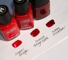 Red nail polish (my favorite) Classic red nail polish, Dragon, Rouge fatal, Chinatown - CHANEL