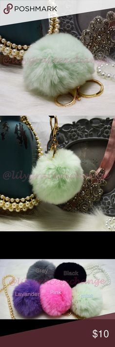 Mint pom pom fur ball keychain NWOT! Brand new!! Made with Rabbit fur Gold hardware.  Size: (approx) Ball Diameter = 8cm  Its a keychain, you can also use it to put as purse charm, key fob or whatever your heart desires.   Great gift for your family, friends or your self.  ** color might be slightly different cause of the lightning  Great for your Louis Vuitton, Prada, Fendi, Chanel, Michael Kors, Gucci, Coach Tory Burch, Kate spade, Marc jacobs and others purses/bags. Accessories Key & Card…