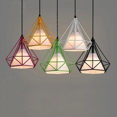 Warna-warni chandelier Birdcage Skandinavia seni Modern minimalis piramida liontin cahaya besi, Berlian lampu restoran kreatif