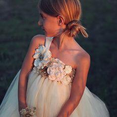 Rustic Vintage Champagne Ivory Flower Girl Dress