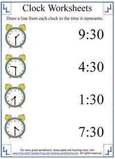 After completing the lesson on telling the hour, use these clock worksheets to teach time to the half-hour. More lessons on clocks and telling time available. Number Words Worksheets, Clock Worksheets, 1st Grade Math Worksheets, Reading Worksheets, Kindergarten Reading Activities, Preschool Writing, Kids Writing, Math Activities, Learning Time Clock
