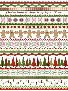 Christmas borders and ribbons clip art setred by digitalfield, $3.50