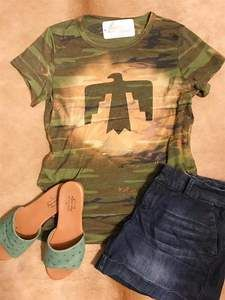 Camo Couture Thunderbird Tee Camo Print, Printed Tees, Shoe Box, Boutiques, 90s Fashion, Sale Items, Preppy, Couture, Stitch
