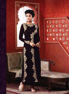 Straight Cut Style Incredible Salwar Kameez in Purple Color & Velvet Fabric