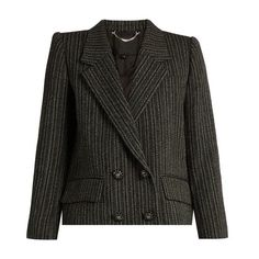 Marc Jacobs Striped double-breasted jacket ($2,423) ❤ liked on Polyvore featuring outerwear, jackets, black multi, wool jacket, marc jacobs jacket, marc jacobs, striped jacket and double breasted wool jacket