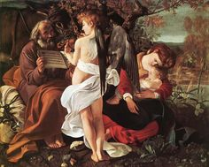 """Caravaggio """"Rest on the Flight into Egypt"""" ca. 1597 The angel plays the violin, and the music puts an exhausted Mary and Child to sleep."""
