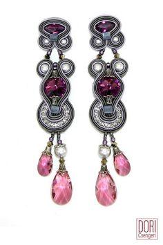 Rhapsody pearl & crystal statement earrings by Dori Csengeri Earring Trends, Jewelry Trends, Boho Jewelry, Beaded Jewelry, Handmade Jewelry, Fashion Jewelry, Soutache Pendant, Soutache Necklace, Crystal Earrings
