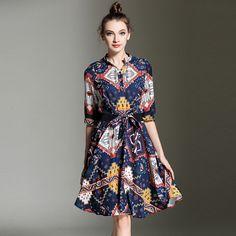 2016 Single Breasted Stand Collar Temperament Slim Print Blue Dress