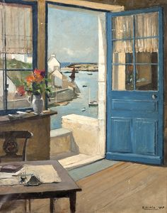 ◇ Artful Interiors ◇ paintings of beautiful rooms - Joseph Raimond Wintz | Vue sur le port Doélan, 1927