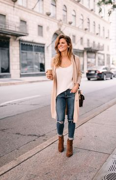 club monaco white tank, off white long cardigan, distressed denim, brown suede ankle booties