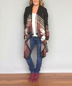 Look at this Coco and Main Black & Burgundy Stripe Open Cardigan - Women on #zulily today!