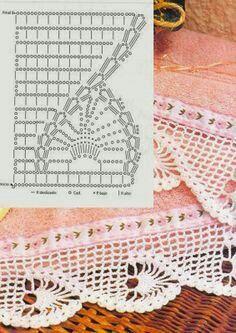 Lace Edging Crochet Patterns Part 11 - Beautiful Crochet Patterns and Knitting Patterns Crochet Boarders, Crochet Edging Patterns, Crochet Lace Edging, Crochet Motifs, Crochet Diagram, Crochet Chart, Thread Crochet, Filet Crochet, Crochet Designs