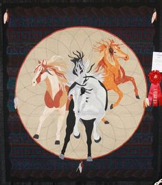 I Dream of Wild Horses by Kris Vierra. Second Place, 2015 AQS Quilt Week - Albuquerque.  Inspired by a drawing by Jody Bergsma, Bergsma Gallery.
