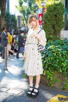 Artist in Vintage Dress, Gingham Headband, Platform Sandals & Lamp Harajuku Accessories