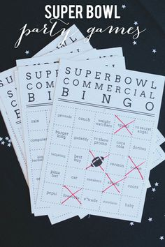 Our guide to throwing a Superbowl party- Superbowl Commercial Bingo