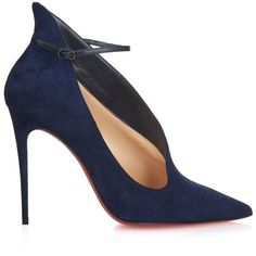 Christian Louboutin Vampydoly suede pumps ($1,055) ❤ liked on Polyvore featuring shoes, pumps, heels, zapatos, scarpe, navy, suede ankle strap pumps, navy heel shoes, navy pumps and suede pumps