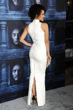 Nathalie Emmanuel booty in a white dress