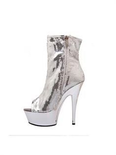 Amazing Women'S Open Toe Sequin Bootie With Side Zip. Incredible range of Disco Shoes & Boots for Halloween at PartyBell. Glitter Boots, Glitter Pumps, Halloween Costume Shoes, Disco Shoes, Sparkle Flats, Fringe Boots, White Boots, Black Platform, Thigh High Boots