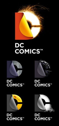 DC Comics rebranded themselves. Lots of possibilities with the half-hidden layer, but it's too bad they used the peel effect. Too trendy.