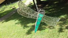 Dragonfly Stained glass Teal mix 6 and a half inches tall