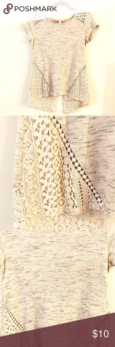 Cute crochet lace top. Grey and cream Only worn once really cute top just doesn't fit me! The back of shirt has a cute slit. High low shirt. Very comfy and casual! Alya Tops