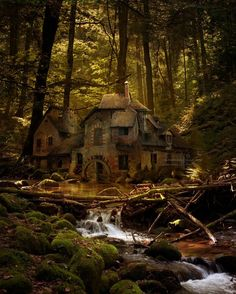 The Queen's Hamlet, France, cottage, woods, forest, river, fairy tale, witch, witch's